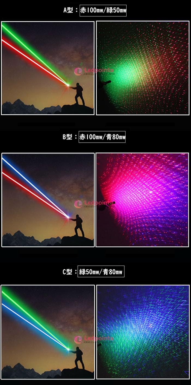 緑色光50mw+青色光80mwレーザーポインター